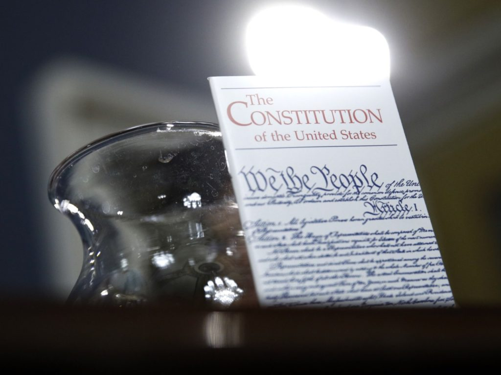Constitution glass of water (Patrick Semansky - Pool / AFP / Getty)