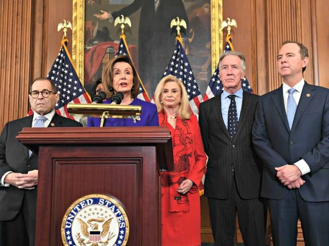 Speaker of the House Nancy Pelosi (C), flanked by House Permanent Select Committee on Intelligence Chairman Adam Schiff (R)(D-CA), House Judiciary Chairman Jerry Nadler (L) (D-NY), House Foreign Affairs Committee Chairman Eliot Engel (2ndR) (D-NY), House Financial Services Committee Chairwoman Maxine Waters (background)(D-CA), and House Committee on Oversight and Reform …