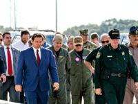 PENSACOLA, FLORIDA - DECEMBER 06: Florida Governor Ron DeSantis (C) arrives for a press conference following a shooting on the Pensacola Naval Air Base on December 06, 2019 in Pensacola, Florida. The second shooting on a U.S. Naval Base in a week has left three dead plus the suspect and …