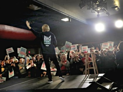 WEST DES MOINES, IOWA - NOVEMBER 25: Democratic presidential candidate Sen. Elizabeth Warren (D-MA) speaks to guests during a campaign stop at the Val Air Ballroom on November 25, 2019 in West Des Moines, Iowa. The 2020 Iowa Democratic caucuses will take place on February 3, 2020, making it the …