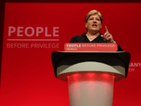 Britain's opposition Labour Party Shadow Foreign Secretary Emily Thornberry gestures as she delivers a speech during the Labour party conference in Brighton, on the south coast of England on September 23, 2019. - Britain's main opposition Labour Party was set Monday to decide on a new Brexit strategy at a …