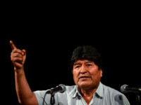 Bolivia's ex-President Evo Morales gestures during a press conference in Buenos Aires, on December 19, 2019. - Bolivia's attorney general on Wednesday ordered the arrest of exiled former president Evo Morales after the interim government accused him of sedition and terrorism. (Photo by RONALDO SCHEMIDT / AFP) (Photo by RONALDO …
