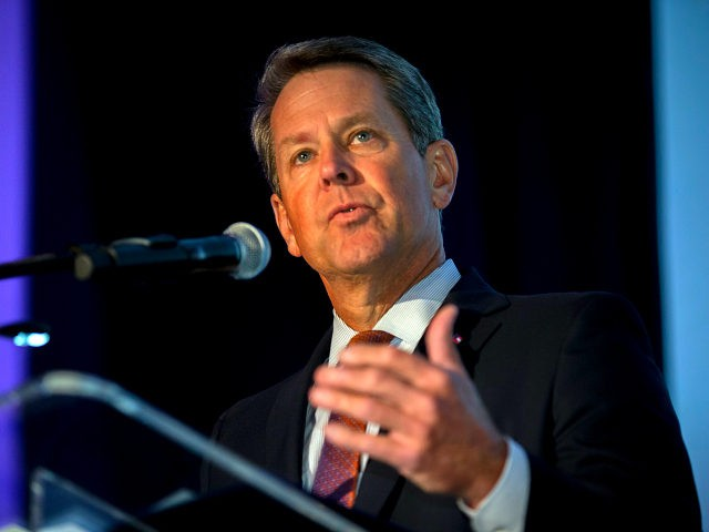 In this image provided by the Georgia Port Authority, Georgia Gov. Brian Kemp speaks during the Georgia Ports Authority's Savannah State of the Port event, Thursday, Sept. 12, 2019, in Savannah, Ga. The GPA plans to double capacity at Garden City Terminal to 11 million twenty-foot equivalent container units per …