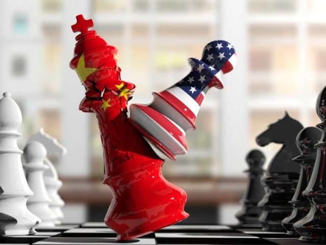 USA and China relations. US America chess pawn hits China chess king on a chessboard, blur background. 3d illustration