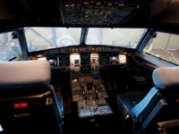 Picture shows the cockpit of the new Airbus A 320 neo aircraft model presented by the Spanish low-cost airline Vueling at Barcelona's airport in El Prat de Llobregat on September 27, 2018. (Photo by Josep LAGO / AFP) (Photo credit should read JOSEP LAGO/AFP via Getty Images)