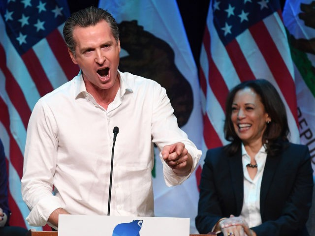 California gubernatorial candidate Gavin Newsom speaks to the crowd at a campaign rally before the mid-term elections in Santa Clarita, California on November 3, 2018. (Photo by Mark RALSTON / AFP) (Photo credit should read MARK RALSTON/AFP via Getty Images)