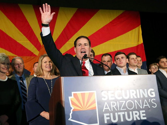SCOTTSDALE, AZ - NOVEMBER 06: Republican Gov. Doug Ducey celebrates his victory at an election night event for Arizona GOP candidates on November 6, 2018 in Scottsdale, Arizona. Ducey defeated Democratic challenger David Garcia. (Photo by Ralph Freso/Getty Images)