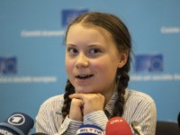 BRUSSELS, BELGIUM - FEBRUARY 21: Greta Thunberg, climate activist speaks at Civil Society for eEUnaissance event on February 21, 2019 in Brussels, Belgium. (Photo by Maja Hitij/Getty Images)