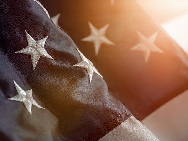 Close up of a star on the american flag with copy space