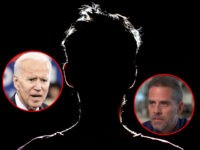 (INSET: Joe and Hunter Biden) silhouette of man in dark place, anonymous backlit contour