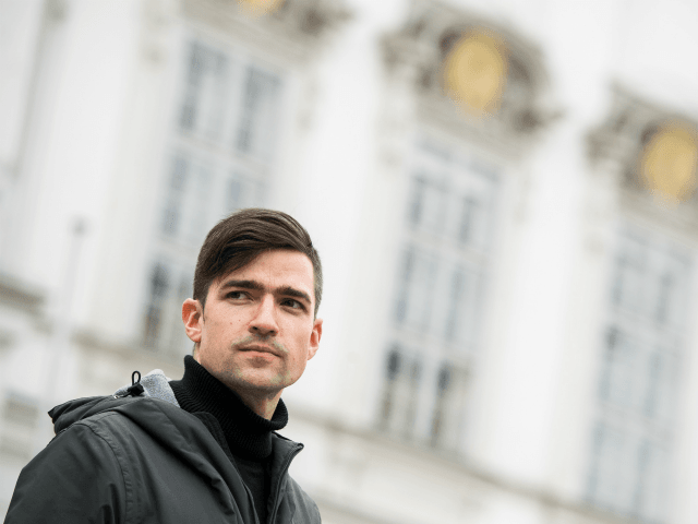 VIENNA, AUSTRIA - APRIL 13: Martin Sellner, leader of the far-right Identitarian Movement in Austria, attends during an Identitarian protest in front of the Justice Ministry on April 13, 2019 in Vienna, Austria. Austrian law enforcement authorities are investigating the Identitarian Movement following revelations that Brenton Harrison Tarrant, who killed …