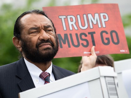 US Representative Al Green, Democrat of Texas, speaks during a press conference after receiving a computer flash drive from activist at the US Capitol in Washington, DC, May 9, 2019. - The drive contains 10 million signatures on a petition urging the US Congress to begin impeachment proceedings against US …