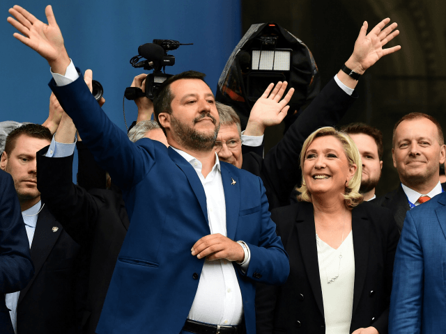 (L-R) Italian Deputy Prime Minister and Interior Minister Matteo Salvini, President of the French far-right Rassemblement National (RN) party Marine Le Pen, leader of Bulgarian Volya (Will) party Veselin Mareshki, deputy chairman of the Conservative People's Party of Estonia (EKRE) Jaak Madison, and leader of the Czech Freedom and Direct …