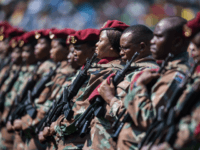 South African Army soldiers stand in line during the inauguration ceremony of the South African president, at Loftus Versfeld stadium in Pretoria, on May 25, 2019. (Photo by Michele Spatari / AFP) (Photo credit should read MICHELE SPATARI/AFP via Getty Images)