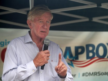 DES MOINES, IOWA - AUGUST 11: Republican presidential candidate and former Governor of Massachusetts Bill Weld delivers campaign speech at the Des Moines Register Political Soapbox at the Iowa State Fair on August 11, 2019 in Des Moines, Iowa. 22 of the 23 politicians seeking the Democratic Party presidential nomination …