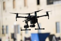 Drones are deployed during a demonstration at the Los Angeles Fire Department ahead of DJI's AirWorks conference in Los Angeles, California, on September 23, 2019. - Drones are proving to be a game changer for emergency responders who are increasingly using the technology to spot fires, detect toxic gas or …