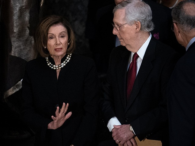 WASHINGTON, DC - OCTOBER 24: House Speaker Nancy Pelosi (D-CA) talks with Senate Majority Leader Mitch McConnell (R-KY) during a memorial service for the late Rep. Elijah Cummings (D-MD) at the Statuary Hall of the U.S. Capitol October 24, 2019 in Washington, DC. Rep. Cummings passed away on October 17, …