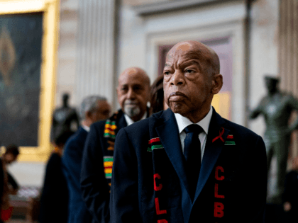 Civil Rights icon Congressman John Lewis (D-GA) prepares to pay his respects to U.S. Rep. Elijah Cummings (D-MD) who lies in state within Statuary Hall during a memorial ceremony on Capitol Hill on October 24, 2019 in Washington, DC. (Photo by Melina Mara-Pool/Getty Images)