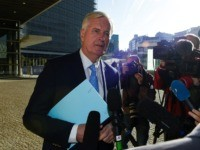 EU chief Brexit negotiator Michel Barnier (C) answers journalists' questions as he arrives at the European Commission for a meeting with EU ambassadors on the extension to the Brexit deadline in Brussels, on October 28, 2019. (Photo by JOHN THYS / AFP) (Photo by JOHN THYS/AFP via Getty Images)