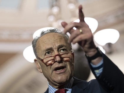 WASHINGTON, DC - NOVEMBER 5: Senate Minority Leader Chuck Schumer (D-NY) speaks to reporters following the weekly Democratic policy luncheon at the U.S. Capitol on November 5, 2019 in Washington, DC. Schumer criticized public attempts by the president and some Senators to expose the identity of the federal whistleblower that …