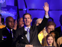 Apparent Gov.-elect Andy Beshear celebrates with supporters after voting results showed the Democrat holding a slim lead over Republican Gov. Matt Bevin at C2 Event Venue on November 5, 2019 in Louisville, Kentucky. Bevin, who enjoyed strong support from President Donald Trump, did not concede after results showed Beshear leading …
