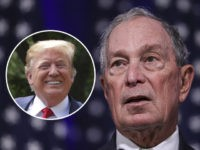 (INSET: Donald Trump) NORFOLK, VA - NOVEMBER 25: Newly announced Democratic presidential candidate, former New York Mayor Michael Bloomberg speaks during a press conference to discuss his presidential run on November 25, 2019 in Norfolk, Virginia. The 77-year old Bloomberg joins an already crowded Democratic field and is presenting himself …