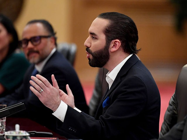 El Salvador's President Nayib Bukele speaks during a meeting with China's President Xi Jinping (not pictured) at the Great Hall of the People in Beijing on December 3, 2019. (Photo by Noel CELIS / POOL / AFP) (Photo by NOEL CELIS/POOL/AFP via Getty Images)