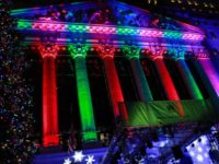 NEW YORK, NY - DECEMBER 05: A view of the NYSE building decoration as the New York Stock Exchanges 96th Annual Christmas Tree Lighting at New York Stock Exchange on December 5, 2019 in New York City. (Photo by Jason Mendez/Getty Images)