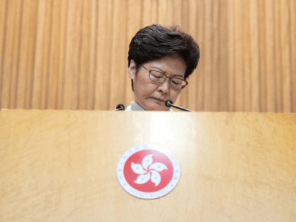 Hong Kong's Chief Executive Carrie Lam takes part in her weekly press conference in Hong Kong on December 10, 2019. - December 9 marked the sixth month anniversary of a movement that has upended the semi-autonomous Chinese hub's reputation for stability and blanketed its streets with unprecedented scenes of political …