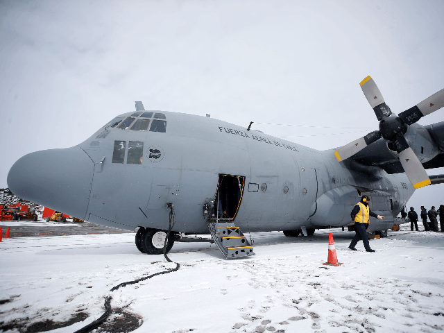 Picture taken in January 2019 at Chile's Antarctic base President Eduardo Frei, in Antarctica, showing a Chilean Air Force C-130 Hercules cargo plane as the one that disappeared in the sea between the southern tip of South America and Antarctica on December 9, 2019 with 38 people aboard. - Rescuers …