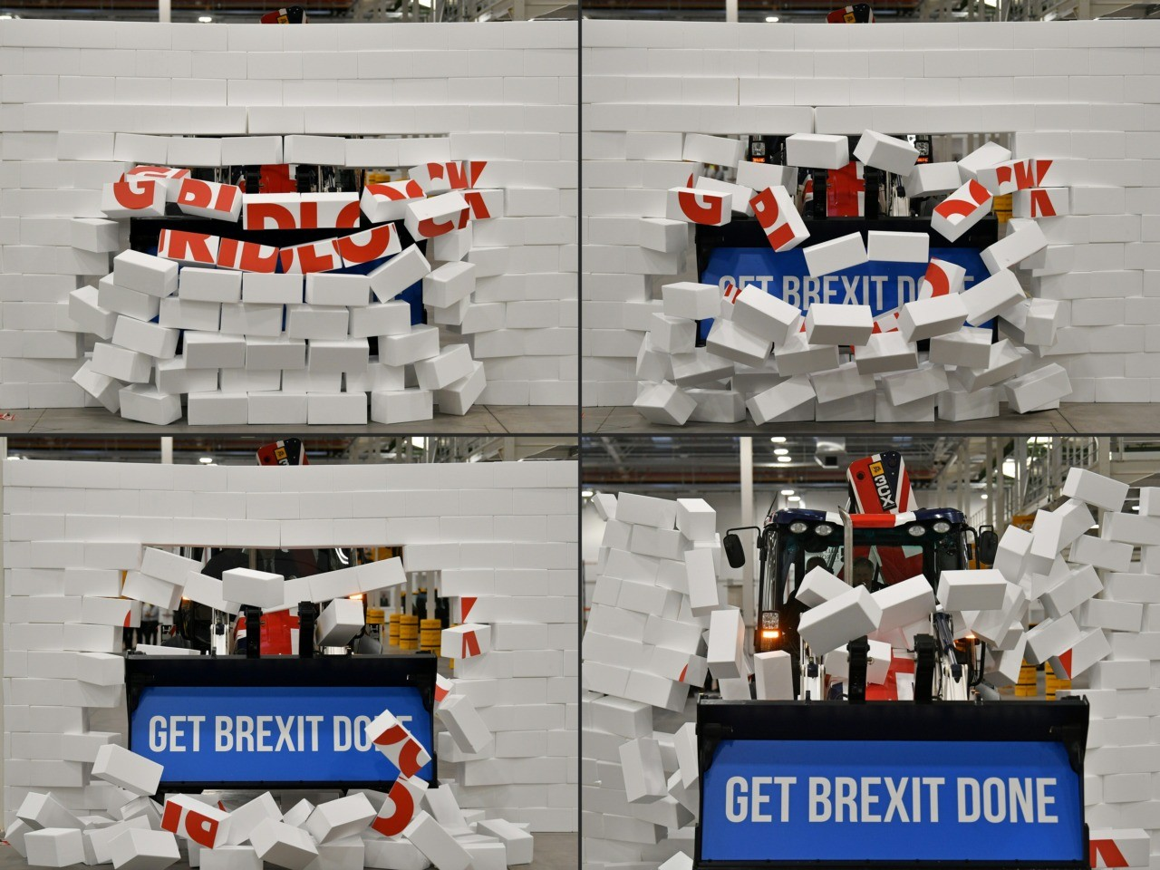 """(COMBO) This combination of pictures created and taken on December 10, 2019 shows Britain's Prime Minister and Conservative party leader Boris Johnson as he drives a Union flag-themed JCB, with the words """"Get Brexit Done"""" inside the digger bucket, through a fake wall emblazoned with the word """"GRIDLOCK"""", during a general election campaign event at JCB construction company in Uttoxeter, Staffordshire."""