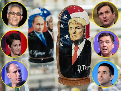(INSETS: David Corn, Daniel Goldman, James Comey, Ari Melber, Jonathan Chait, Rachel Maddow) MOSCOW, RUSSIA - DECEMBER 03: A souvenir shopkeeper displays Matryoshka dolls featuring Russian President Vladimir Putin and US presidents, including Donald Trump, on December 3, 2019 in Moscow, Russia. (Photo by Misha Friedman/Getty Images)
