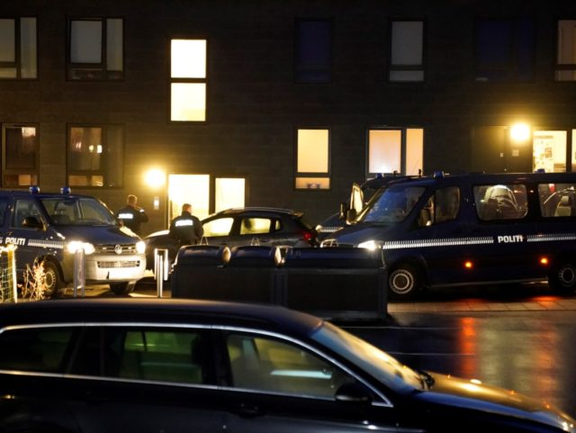 Police cars are parked in front of houses in Aalborg on December 11, 2019 during a police action based on suspicions of preparations of terror attacks with militant Islamist motive. (Photo by Henning Bagger / Ritzau Scanpix / AFP) / Denmark OUT (Photo by HENNING BAGGER/Ritzau Scanpix/AFP via Getty Images)