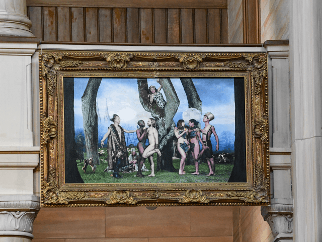 "This picture taken on November 29, 2019 shows the LGBTQ altarpiece ""Paradise"" created by artist Elisabeth Ohlson Wallin at its place in the St. Paul church in Malmo, Sweden. - The 1.3 by 1.9 mt photograph was offered to the St. Paul's Church in Malmo, the third largest city in …"
