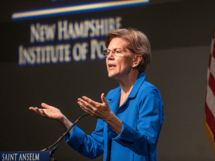 Democratic presidential candidate Sen. Elizabeth Warren (D-MA) gestures as she delivers an economic policy speech on December 12, 2019 in Manchester, New Hampshire. The Iowa Caucuses are less than two months away. (Photo by Scott Eisen/Getty Images)