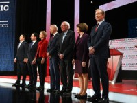 (From L) Democratic presidential hopefuls, entrepreneur Andrew Yang, Mayor of South Bend, Indiana Pete Buttigieg, Massachusetts Senator Elizabeth Warren, former Vice President Joe Biden, Vermont Senator Bernie Sanders, Minnesota Senator Amy Klobuchar and businessman Tom Steyer participate of the sixth Democratic primary debate of the 2020 presidential campaign season co-hosted …