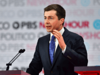 Democratic presidential hopeful Mayor of South Bend, Indiana, Pete Buttigieg speaks on stage during the sixth Democratic primary debate of the 2020 presidential campaign season co-hosted by PBS NewsHour & Politico at Loyola Marymount University in Los Angeles, California on December 19, 2019. (Photo by Frederic J. Brown / AFP) …