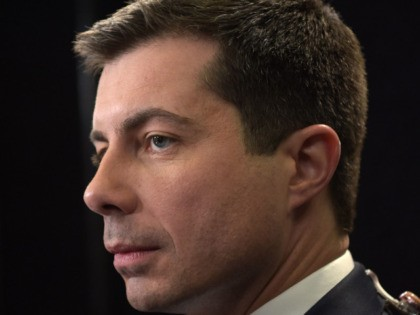 Democratic presidential hopeful Mayor of South Bend, Indiana Pete Buttigieg stands in the spin room after the sixth Democratic primary debate of the 2020 presidential campaign season co-hosted by PBS NewsHour & Politico at Loyola Marymount University in Los Angeles, California on December 19, 2019. (Photo by Agustin PAULLIER / …