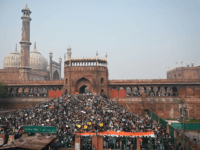 Protesters gather by the Jama Masjid mosque at a demonstration against Indias new citizenship law in New Delhi on December 20, 2019. - Fresh clashes between Indian police and demonstrators erupted on December 20 after more than a week of deadly unrest triggered by a citizenship law seen as anti-Muslim. …