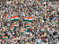 Demonstrators gather at the Quddus Saheb Eidgah grounds to take part in a rally against India's new citizenship law in Bangalore on December 23, 2019. - The wave of protests across the country marks the biggest challenge to Modi's government since sweeping to power in the world's largest democracy in …