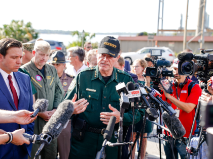 Escambia County Sheriff David Morgan speaks to press following a shooting on the Pensacola Naval Air Base on December 06, 2019 in Pensacola, Florida. The second shooting on a U.S. Naval Base in a week has left three dead plus the suspect and seven people wounded. (Photo by Josh Brasted/Getty …