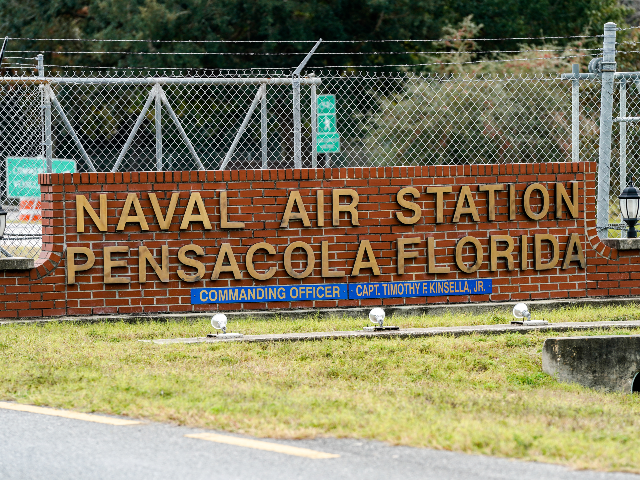 general view of the atmosphere at the Pensacola Naval Air Station following a shooting on December 06, 2019 in Pensacola, Florida. The second shooting on a U.S. Naval Base in a week has left three dead plus the suspect and seven people wounded. (Photo by Josh Brasted/Getty Images)
