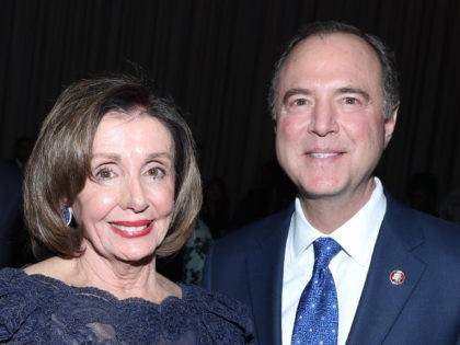 NEW YORK, NEW YORK - DECEMBER 12: Speaker of the House Nancy Pelosi (D-CA) and Rep. Adam Schiff attend the Robert F. Kennedy Human Rights Hosts 2019 Ripple Of Hope Gala & Auction In NYC on December 12, 2019 in New York City. (Photo by Bennett Raglin/Getty Images for for …