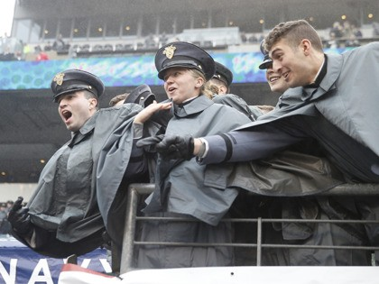 PHILADELPHIA, PENNSYLVANIA - DECEMBER 14: The Army Core of Cadets taunt the Naval Academy cadets as they walk off the field before the game between the Army Black Knights and the Navy Midshipmen at Lincoln Financial Field on December 14, 2019 in Philadelphia, Pennsylvania. (Photo by Elsa/Getty Images)