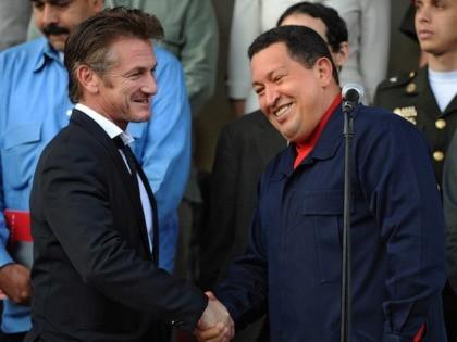 Venezuelan President Hugo Chavez (R) greets US actor Sean Penn after a meeting in Miraflores presidential palace in Caracas on March 5, 2011. Penn, who was visiting Caracas, thanked Chavez for the funding that his government gave to an NGO based in Haiti that assists the victims of the earthquake …