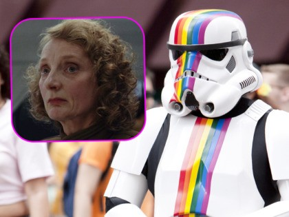 """(INSET: Actress Amanda Lawrence in """"Star Wars: The Last Jedi"""") """"New York City, USA - June 24, 2012: Starwars character with rainbow stripes marching with people in the New York City Gay Pride Parade on 5th ave in Manhattan."""""""