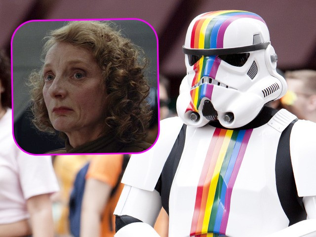 "(INSET: Actress Amanda Lawrence in ""Star Wars: The Last Jedi"") ""New York City, USA - June 24, 2012: Starwars character with rainbow stripes marching with people in the New York City Gay Pride Parade on 5th ave in Manhattan."""