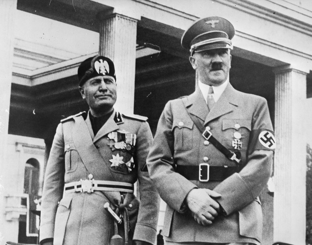 September 1937: Italian fascist dictator Benito Mussolini (1883 - 1945) and Adolf Hitler (1889 - 1945), the leader of Nazi Germany, in Munich. (Photo by Fox Photos/Getty Images)