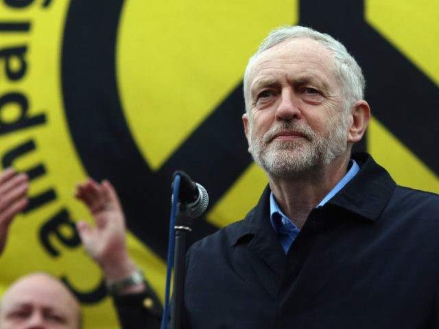 LONDON, ENGLAND - FEBRUARY 27: Labour Leader Jeremy Corbyn speaks to the crowds from Trafalgar Square after a 'Stop Trident' march though central London on February 27, 2016 in London, England. The leaders of three political parties will attend the march today. Labour leader Jeremy Corbyn, SNP leader Nicola Sturgeon …