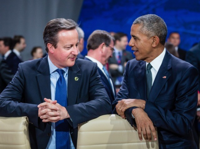 US President Barack Obama (R) and Great Britain's Prime Minister David Cameron (L) chat prior to the meeting of the heads of states of the North Atlantic Council (NAC), during the NATO summit in Warsaw, Poland. The Polish capital Warsaw hosts a two-day top-level NATO meeting, first time since Poland …